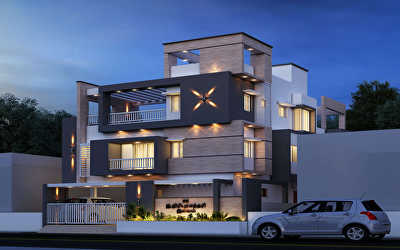 SOUTH WEST NIGHT VIEW Residential of Villa  at Pattabiram